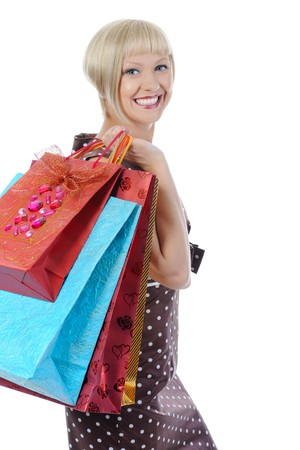 Pretty women with shopping bags. Isolated on white background photo