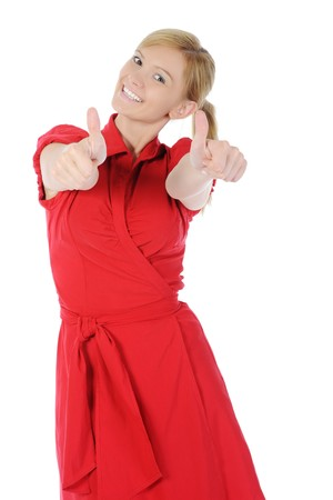 girl in red with thumb up. Isolated on white background Stock Photo - 7563938