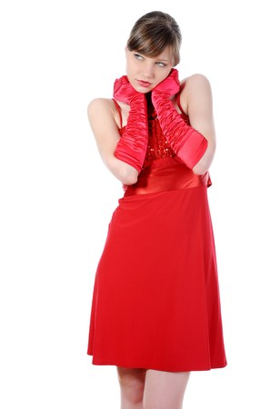Beautiful girl in the red dress. Isolated on white background photo