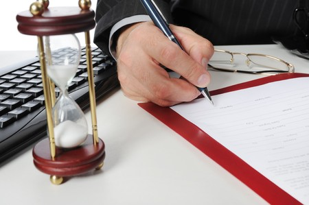Image of businessmans hand ready to make signature  photo