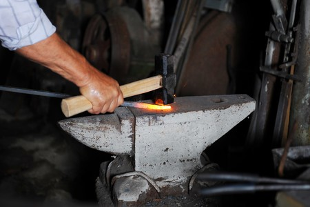 Making a decorative cell in the smithy Stock Photo - 7572077