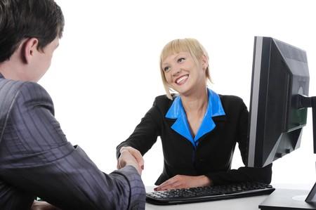 Handshake businessman and women.. Isolated on white background photo