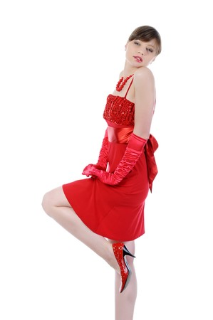Beautiful women in the red dress. Isolated on white background Stock Photo - 7603764