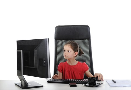 girl in the office computer. Isolated on white background photo