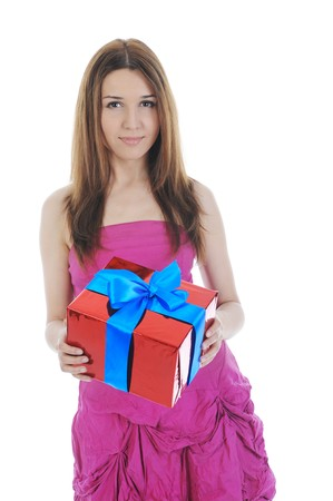 brunette with a gift box. Isolated on white background photo