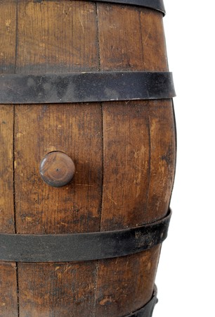 Old wooden barrel with stopper. Isolated on white background photo