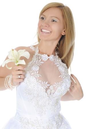 bride with lily. Isolated on white background photo
