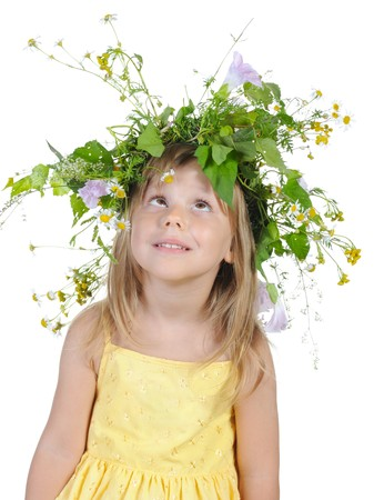 Playful girl with a wreath of flowers. Isolated on white background Stock Photo - 7603937