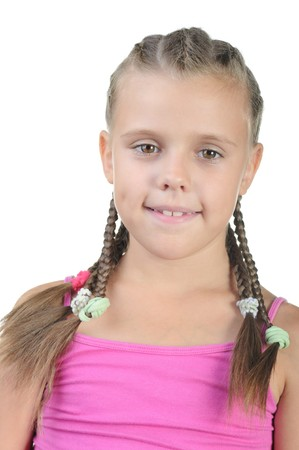 Little girl with pigtails. Isolated on white background Stock Photo - 7603939