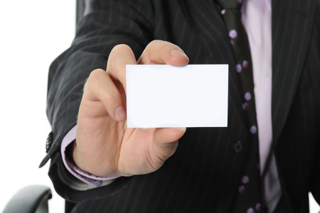 Businessman handing a blank. Isolated on white background Stock Photo - 7634279