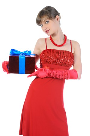 girl in red with a gift box. Isolated on white background photo