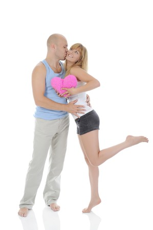 man kisses a girl. Isolated on white background photo