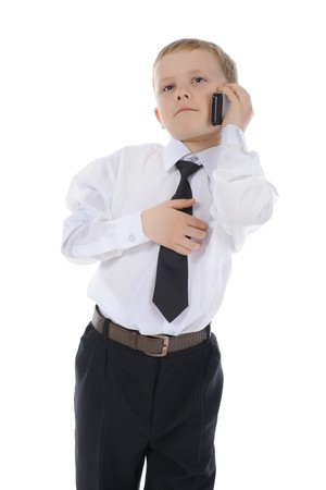 boy talking on the phone. Isolated on white background Stock Photo - 7634418