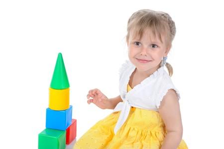 Little beautiful girl. Isolated on white background photo