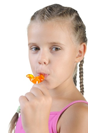 girl with candy. Isolated on white background photo