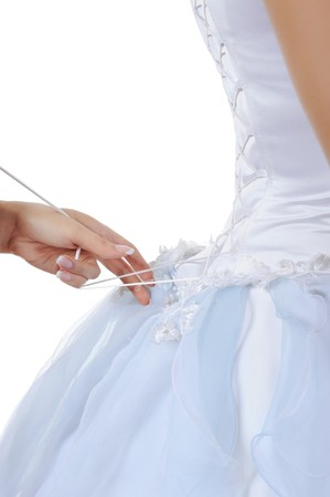 Friend tightens karset bride. Isolated on white background Stock Photo - 7701313
