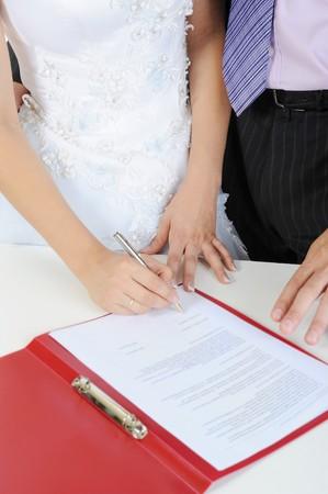 The wedding signature. Isolated on white background photo