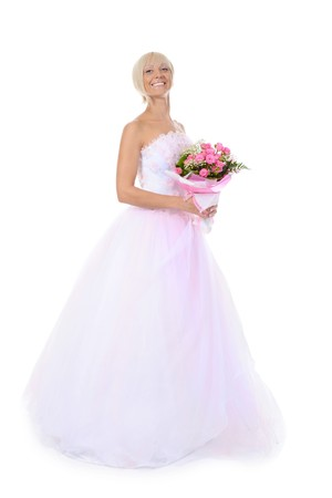 Happy bride with a bouquet. Isolated on white background photo