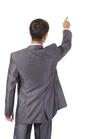 head back: Businessman points finger up. Isolated on white background