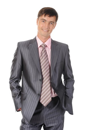 Young successful businessman. Isolated on white background photo