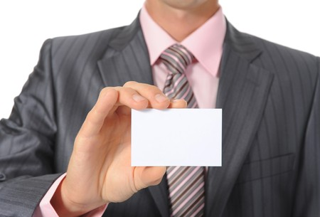 man handing a blank. Isolated on white background Stock Photo - 7701487