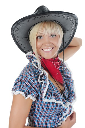 Young beauti cowgirl. Isolated on white background photo