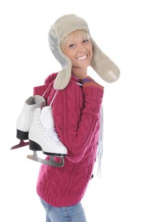 Girl with skates. Isolated on white background Stock Photo - 7701517