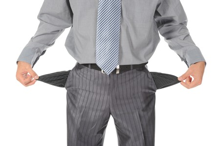 preoccupation: Businessman with empty pockets. Isolated on white background