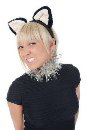 woman with cat ears. Isolated on white background photo