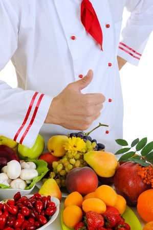 tumb: Chef with thumb. Isolated on white background Stock Photo
