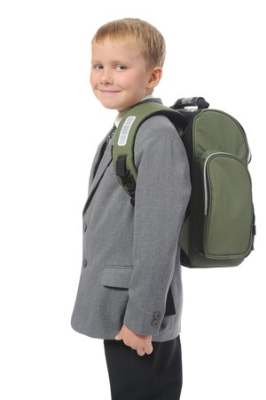 boy with a briefcase. Isolated on white background photo