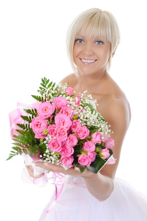 Happy bride with a bouquet of roses. Isolated on white background Stock Photo - 7701618
