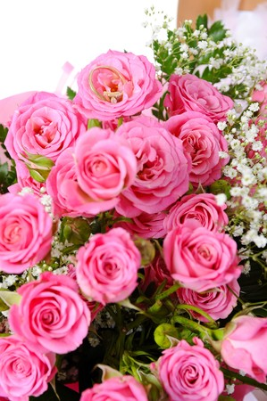 Pink Bridal Bouquet. Isolated on white background photo