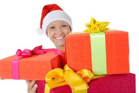 Beautiful christmas woman. Isolated on white background Stock Photo - 7701582