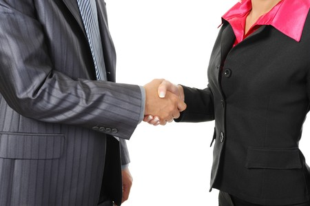 Handshake of business partners. Isolated on white background photo
