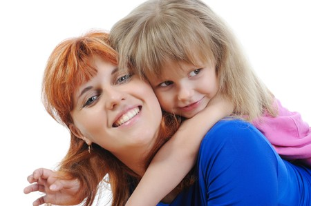 Little girl with her mother. Isolated on white background Stock Photo - 7701729