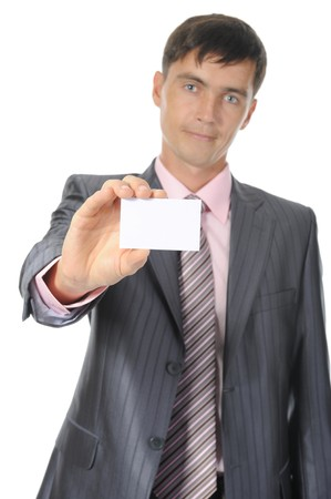man handing a white blank. Isolated on white background Stock Photo - 7701703
