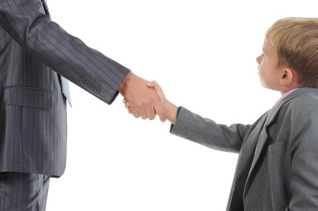 Handshake man and little boy. Isolated on white background Stock Photo - 7701710