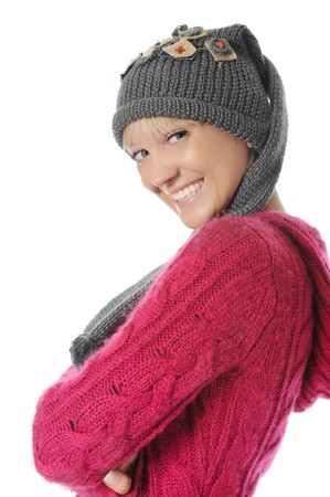 Young woman in winter style. Isolated on white background photo