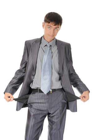 preoccupation: man with empty pockets. Isolated on white background