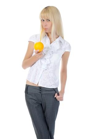 Blonde gilr with orange drink. Isolated on white background photo
