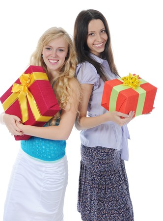Two women with gifts. Isolated on white background photo