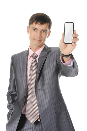 man handing a white phone. Isolated on white background photo