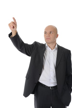 man points finger up. Isolated on white background Stock Photo - 7799274