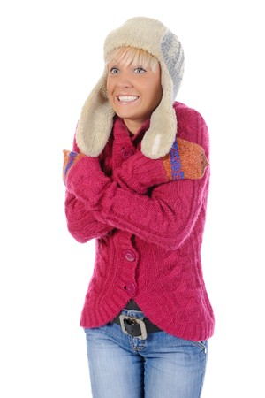 Smiling woman in winter style. Isolated on white background photo