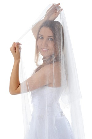 young bride with veil. Isolated on white background Stock Photo - 7799323