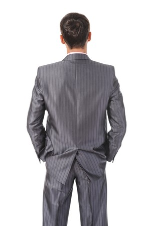 man back view: Image businessman behind. Isolated on white background Stock Photo
