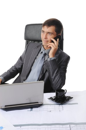 Businessman in office talking on the phone. Isolated on white background Stock Photo - 7799345