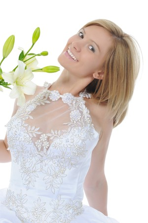 bride with a lily. Isolated on white background photo