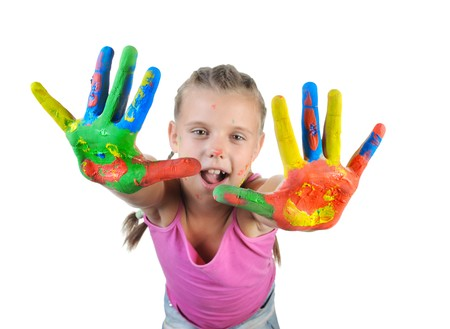 little girl with the palms painted by a paint. Isolated on white Stock Photo - 7799388